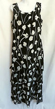 MICA Womens Black White Floral Tiered Ruffled Tank Top Long Maxi Dress 10 L
