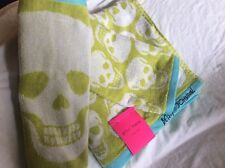 3-PIECE SET BETSEY JOHNSON Sugar Skull Lime Green w/ Turquoise Trim BATH TOWELS
