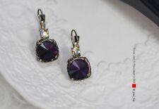 Boucles d`Oreilles Dormeuses Doré Rond Violet Class Vintage Original CC 6
