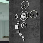 Newly 3D Modern Home Decoration Silver Mirror Living Room Crystal Wall Clock DIY