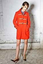 DSQUARED2 cute coral red orange curly wool mohair zipped duffle coat jacket 38 4