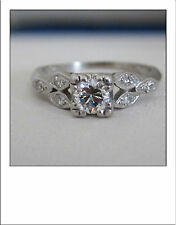 **Antique Deco Platinum Old European cut Diamond Engagement Ring -Floral Design