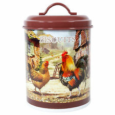 Chicken Hen Farmyard Brown Biscuit Barrel Storage Cookie Jar Tin Airtight Lid