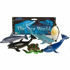 Set of 6 Sea World Plastic Animal Figures Shark/Penguin/Whale/Turtle/Dolphin/Orc