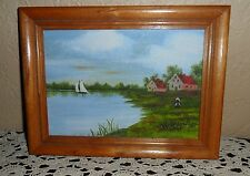 LOVELY SEASIDE COTTAGES & SAILBOAT PAINTING FRAMED SIGNED NAUTICAL SHIP BOAT ART