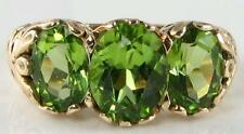 HUGE 9K GOLD VICTORIAN INS PERIDOT 3 STONE RING 3.60Ct