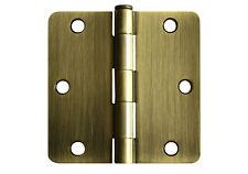 """24 Antique Brass 3.5"""" X 3.5"""" w 1/4"""" Radius Door Hinges 3.5 inch 3 1/2 Interior"""