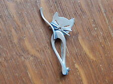 Vintage USA 1940s Beau Sterling Silver Mid Century Cat Pin