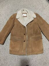 VTG Sears The Leather Shop Rancher barn Coat 44 Reg Large Sherpa Lined Brown