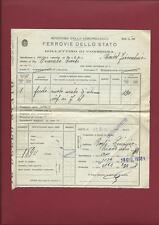 Bollettino di Consegna da Rieti a Castelfiorentino Ferrovie dello Stato 1938