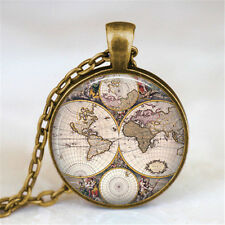 Vintage world map Cabochon Bronze Glass Chain Pendant Necklace wj13