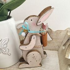 VINTAGE STYLE GREY WOODEN HARE RABBIT BUNNY SHABBY CHIC HOME DECOR EASTER CHIC