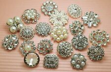 20 Mixed Sparkling Clear Glass Rhinestone Silver Metal Shank Buttons 20-30mm