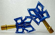 KCNC Knife Stainless Steel Road Platform Pedals Pair, Blue