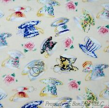 BonEful Fabric FQ Cotton Quilt Sweet English Tea Cup Room Victorian Rose Flower