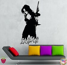 Wall Stickers Vinyl Decal Hot Gothic Chick With Machine Gun Gangster (z2148)
