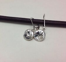 Sterling Silver Authentic Swarovski Crystal Elements Leverback Earrings Rivoli