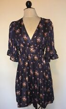 Betsey Johnson Navy Blue Silk Vintage Bambi Boho Kimono Mini Dress Floral 8 M