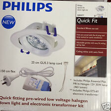 10 X Philips Quick Fit Downlight Kit with MR16 Halogen 35W Lamp & ETS-60 QBS077
