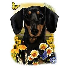 """BLK SMOOTH DACHSHUND DOG w Flowers on Fabric-One Lg 18"""" x 22"""" Panel to Sew.Sale!"""