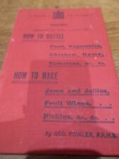 c1920 1st Ed HOW TO BOTTLE Fruit Veg Chicken Game HOW TO MAKE Jams Jellies Wines