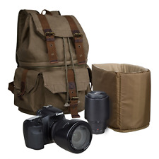 S-ZONE Canvas DSLR SLR Camera Shoulder Bag Backpack Rucksack Bag with Waterproof