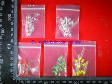 50pcs 3mm Red Yellow Green Blue White LED Assortment Kit 10pcs per Color #3049