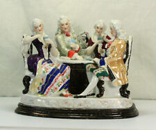 LATE 18TH CENTURY ANTIQUE CONTA BOEHME FIGURAL INKWELL COUPLES PLAYING CARDS