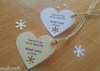 Heart Tags for Wedding Favours/Gifts - Cute Snowflake Cut Out - Personalised