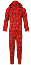 Boys Girls Christmas Onesie Onesies Navy Blue Xmas Reindeer Unisex Hooded Zipped