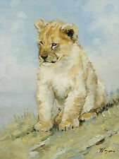Original Oil painting - wildlife art - lion cub - by j payne