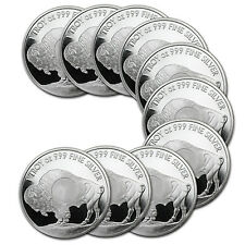 1 oz Sunshine Silver Buffalo Silver Round - Lot of 10 - SKU #85773