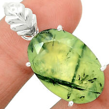 Faceted Prehnite 925 Sterling Silver Pendant Jewelry PNFP16
