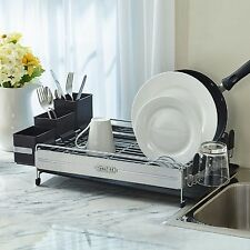 Dish Drying Rack Plate Drainer Holder Stainless Steel Panels Kitchen Organizer