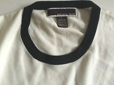 MICHAEL KORS MENS WHITE WITH BLACK CONTRAST COTTON STRETCH SWEATER