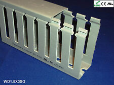 "18 New 1.5""x3""x2m Wide Finger Open Slot Wiring Cable Raceway Duct Cover,PVC,Gray"