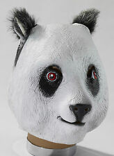 Full PANDA BEAR Mask Deluxe Latex Head Fur Furry Ears Black White Adult Costume