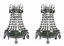 2 x Black Acrylic Crystal Chandelier Ceiling Light Pendant Shade -Marie Therese