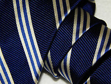BROOKS BROTHERS Men's ROYAL BLUE Woven REPP Silk Neck Tie SILVER STRIPE Necktie