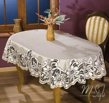 Tablecloth Cream Golden beige Heavy Lace Oval Quality Product