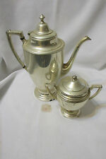 Vintage Crescent Silverware Silver Plate Tea/Coffee Pot & Creamer #3600