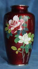 """Vintage Pigeon Blood Red Ginbari Roses Cloisonne Flowers Enamel 6"""" Vase Japan"""