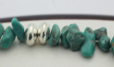 """Sterling Silver .925 Rustic Signed QTC Turquoise Bead 8"""" Bracelet 13.5g E866"""