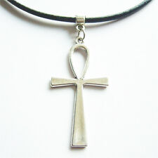 1x Round Genuine Leather Necklace Egyptian Ankh Cross Charms Pendant 13'' Choker