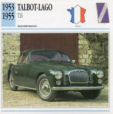 1953-1955 TALBOT LAGO T26 Classic Car Photo/Info Maxi Card