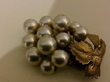 Antique Grape Faux Pearl Huge Coat Brooch Pin
