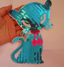 large sequin applique blue cat patch badge motif iron on sew on UK-19cm