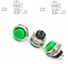 10pcs DS-212 16mm 3A 125V Switch Push Round Button No Lock Reset Green CA