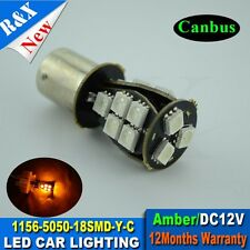 2x CANBUS BA15S Amber 18-SMD 7507 P21W LED For Cars Turn Signal Corner Bulbs