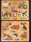 2 NEW NWT WOODEN EDUCATIONAL PUZZLE ANIMAL 12x8.5